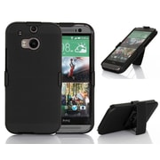 GearIT HTC One M8 Case Ultra Slim Shell Protective Cover with Holster, Black