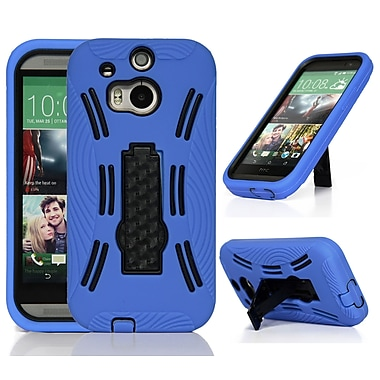 GearIT Rugged High Impact Hybrid Armor Case Cover With Stand For HTC One M8, Blue