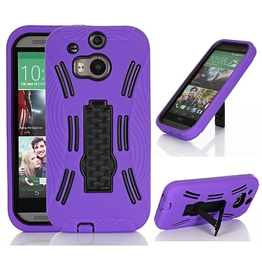 GearIT Rugged High Impact Hybrid Armor Case Cover With Stand For HTC One M8, Purple