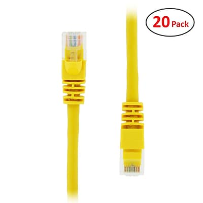 PCMS 4' RJ-45 Male/Male Cat5E UTP Ethernet Network Patch Cable, Yellow, 20/Pack