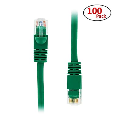 PCMS 2' RJ-45 Male/Male Cat5E UTP Ethernet Network Patch Cable, Green, 100/Pack