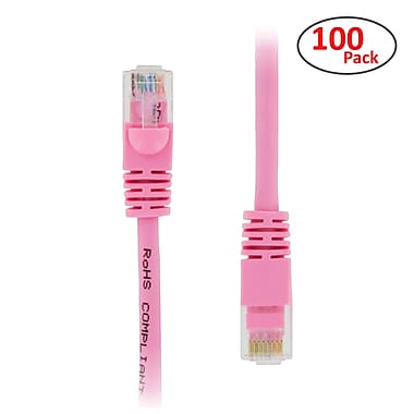 PCMS 2' RJ-45 Male/Male Cat5E UTP Ethernet Network Patch Cable, Pink, 100/Pack