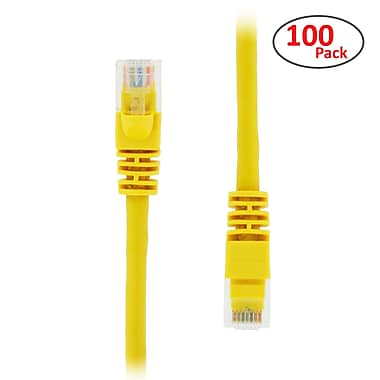 PCMS 1' RJ-45 Male/Male Cat5E UTP Ethernet Network Patch Cable, Yellow, 100/Pack