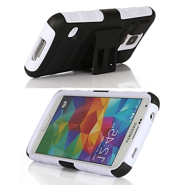 GearIT High Impact Hybrid Armor Case Cover With Stand Holster For Samsung Galaxy S5, White
