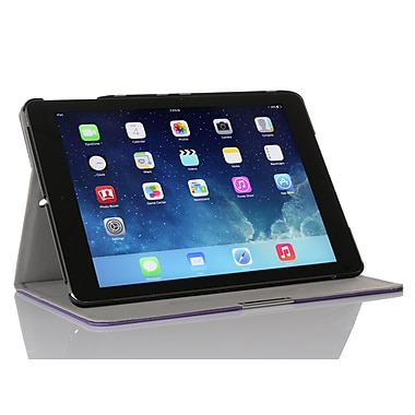GearIT Spinner APAIR360SPINPR Twill Fabric Folio Case for Apple iPad Air, Purple