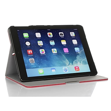 GearIT Spinner APAIR360SPINRD Twill Fabric Folio Case for Apple iPad Air, Red