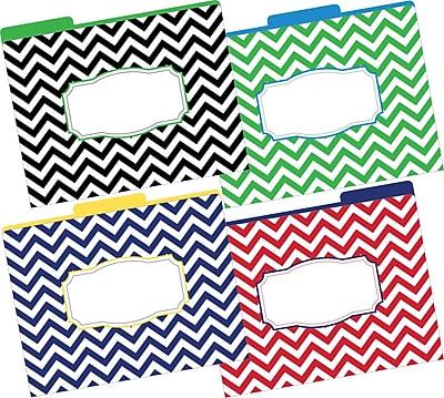 Barker Creek Letter 1/3-Cut Chevron Nautical Decorative File Folder, Multi-Color, 12/Pack
