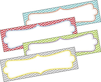 Barker Creek All Grades Double-Sided Desk Tag, Beautiful Chevron, 36/Pack