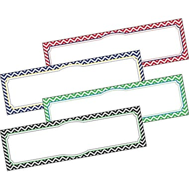 Barker Creek All Grades Double-Sided Desk Tag, Nautical Chevron, 36/Pack