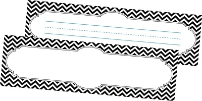 Barker Creek All Grades Double-Sided Desk Tag, Black/White Chevron, 36/Pack