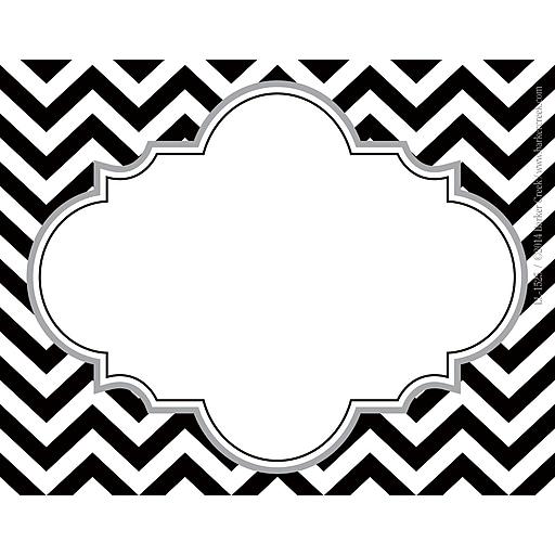 barker creek all grades self adhesive name tag black white chevron staples. Black Bedroom Furniture Sets. Home Design Ideas