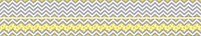 Barker Creek Double-Sided Trim, Gray/Yellow Chevron, 12/Pack