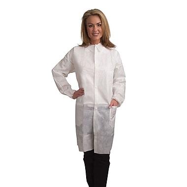 Keystone LC3-WE-NW-XL Single Collar White Disposable Lab Coat, XL