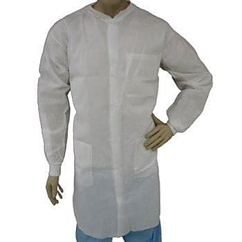 Keystone LC3-WK-NW-4XL Knit Collar White Disposable Lab Coat, 4XL, 30/Box