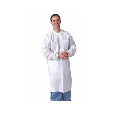 Keystone LC3-WK-SMS-SM Knit Collar White Disposable Lab Coat, Small