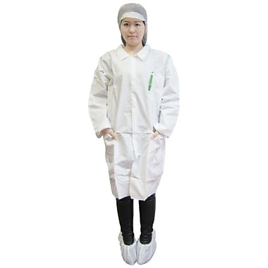 Keystone LC3-WE-KG-LG Single Collar White Disposable Lab Coat, Large