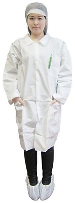 Keystone LC3-WE-KG-SM Single Collar White Disposable Lab Coat, Small