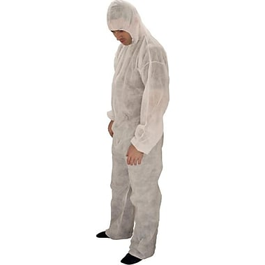 Keystone CVL-NW-HE-XL White Polypropylene Disposable Coverall, XL