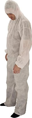 Keystone CVL-NW-HE-SM White Polypropylene Disposable Coverall, Small