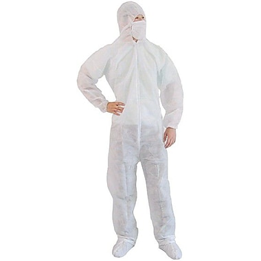Keystone CVL-NW-B-LG White Polypropylene Disposable Coverall/Bunny Suit, Large