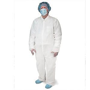 Keystone® CVL-NW-HD-5XL White Heavyweight Polypropylene Disposable Coverall, 5XL