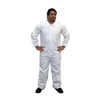 Keystone CVL-NW-HD-E-4XL White Heavyweight Polypropylene Disposable Coverall, 4XL