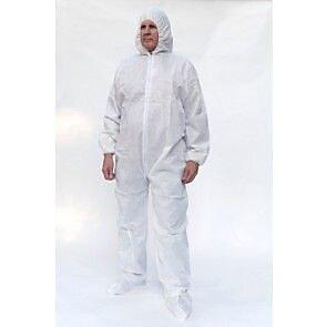 Keystone CVL-NW-HD-B-XL White Heavyweight Polypropylene Disposable Coverall, XL