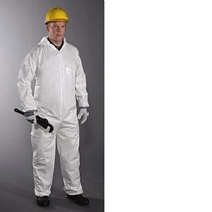 Keystone CVL-NWP-E-2XL White Laminated Polypropylene Disposable Coverall, 2XL
