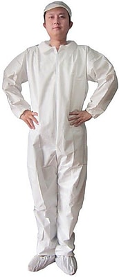 Keystone CVLSMSREG-E-4XL White SMS Barrier Fabric Disposable Coverall, 4XL