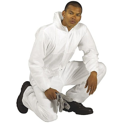 Keystone CVLSMSREG-HE-2XL White SMS Barrier Fabric Disposable Coverall, 2XL, 25/Box