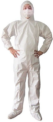 Keystone CVL-SMS-HE-2XL White Heavyweight SMS Disposable Coverall, 2XL, 25/Box