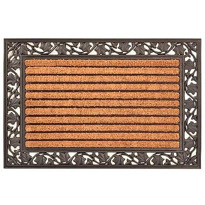 HomeTrax Designs Leaf Cocoa Natural Coir Fiber Door Mat 36