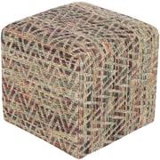 """Surya DHPF003-181812 12"""" x 18"""" x 18"""" Cotton Pouf, Burgundy, Mocha, Moss, Lime, Teal"""