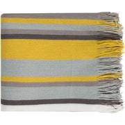 "Surya TPG1000-5060 50"" x 60"" 100% Acrylic Throw, Lemon, Sky Blue, Light Gray, Ivory, Charcoal"