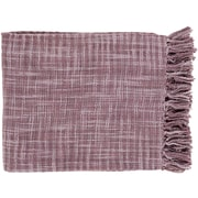 "Surya TOR003-4959 49"" x 59"" 100% Cotton Throw, Light Gray, Mauve"