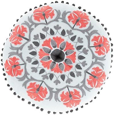 Surya Suzani Decorative Pillows 100% Linen AR141-16RD ,Gray, Hot Pink & Sky Blue