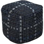"""Surya POUF-102 18"""" x 18"""" x 18"""" Cotton Pouf, Charcoal"""