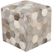 "Surya TLPF-001 18"" x 18"" x 18"" Hair On Hide Pouf, Light Gray, Olive"