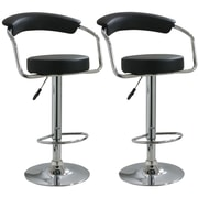 "Buffalo AmeriHome 42 1/4"" Vinyl Adjustable Height 2 Piece Bar Stool Set, Black"