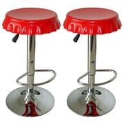 Buffalo AmeriHome Soda Cap Adjustable Height 2 Piece Bar Stool Set, Red