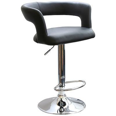 Buffalo AmeriHome Vinyl Adjustable Height Bar Stool With Round Back, Black