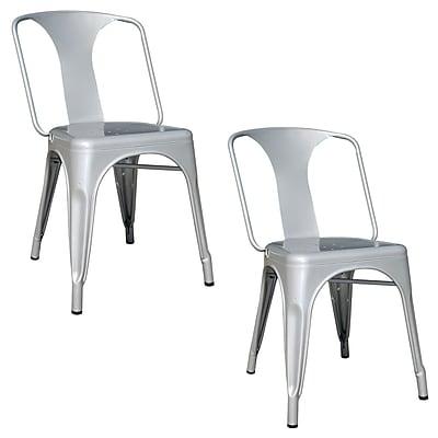 Buffalo AmeriHome Metal 2 Piece Dining Chair Set, Silver