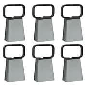 Buffalo Customizable 6 Piece Cowbell With Easy Grip Handle, Silver/Black