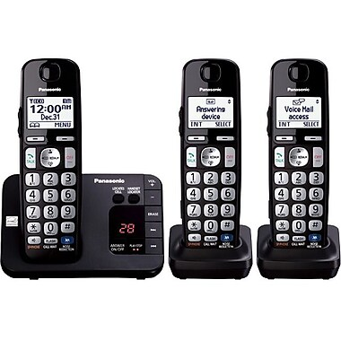 Panasonic KX-TGE233B Cordless Digital Phone With 2 Handsets, 100 Name/Number