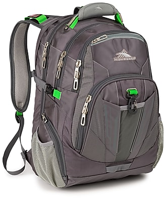 High Sierra Ballistic Nylon XBT TSA Backpack Charcoal, Silver & Kelly Green