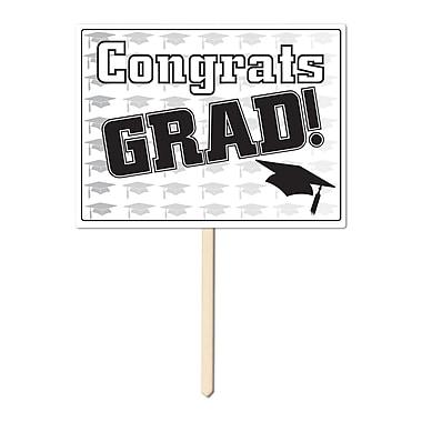 Écriteau en plastique « Congrats Grad », 11 x 15 po, noir, paquet de 3