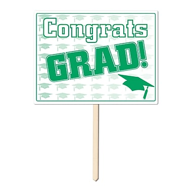 Écriteau en plastique « Congrats Grad », 11 x 15 po, vert, paquet de 3
