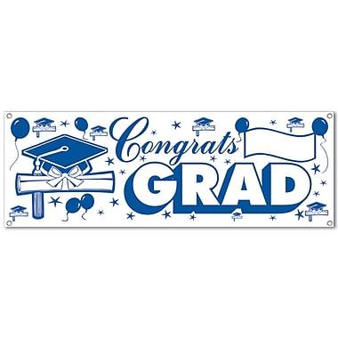 Banderole « Congrats Grad », 5 pi x 21 po, bleu et blanc, paquet de 3