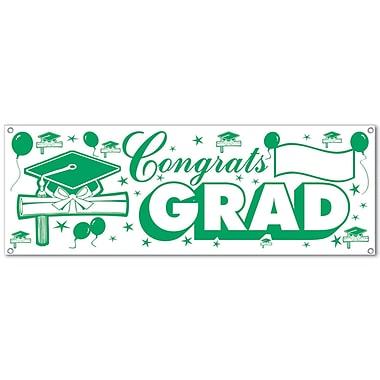 Banderole « Congrats Grad », 5 pi x 21 po, vert et blanc, paquet de 3