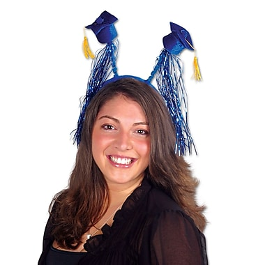 Grad Cap With Fringe Boppers, One Size Fits Most, Blue, 2/Pack